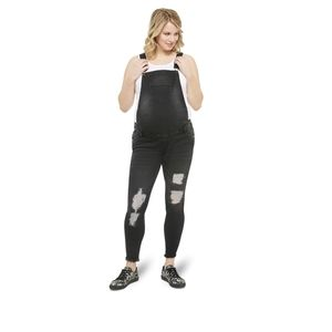 NWT Distressed Overalls Maternity Black Adjustable